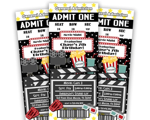 Printable Movie Ticket Invitation   Movie Birthday Party Invite   Movie  Party   Movie Night Invitations   Movie Tickets   Cinema Party DIY  Party Ticket Invitations