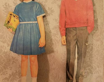 2 Vintage Die Cuts- 1960's School Girl and Boy