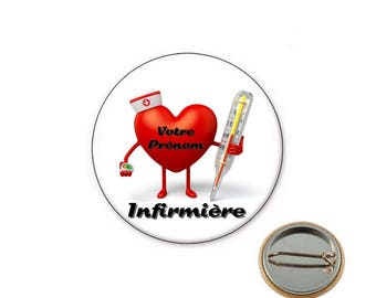 Personalized nurse badge Ø25mm pin