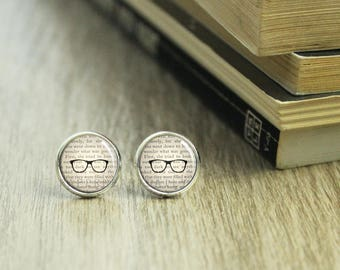 Book Lover Earrings - Bookworm for Her - Earrings for Readers - Bookworm Jewelry - Book Earrings - Literary Jewelry - Book Gifts -   (H1955)