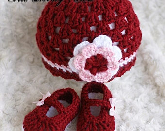 Crochet Pattern Set  for Baby Ribbon Maryjane Booties, and Princess Flower Beanie Hat digital
