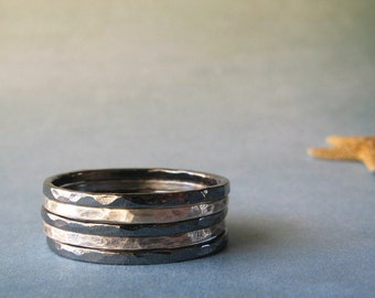 Set of 5 urban sterling silver oxidized and brushed stacking rings.  Simple everyday jewelry.  Modern hammered texture.  Made to order.
