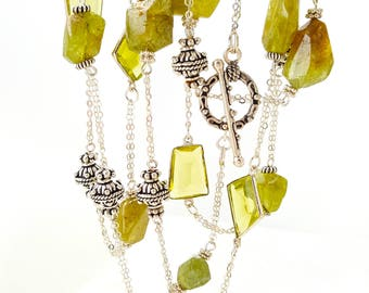 """Necklace chain 38"""" Natural Green Garnet, Olive Quartz, 925 Sterling Silver Antique Style Beads"""