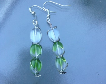 Green Glass Bead and Silver Wire Dangle