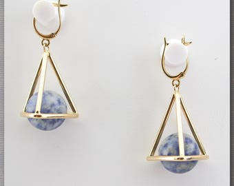 Solid Gold 14K Sodalite Unique  Pyramid Egypt Evil Eye Protection Earrings