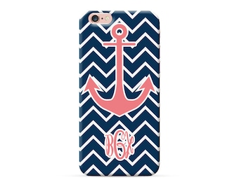 personalized phone case, personalised iPhone x case, monogrammed iPhone 8 case, monogram iPhone 7 plus case, iPhone 6s case Nautical anchor