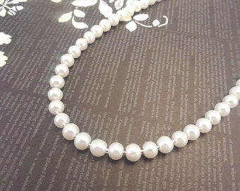 One Strand, Classic Style 6mm White Glass Pearl Necklace with Silver Color Fish Hook Clasp