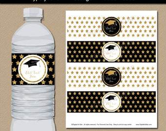 Graduation Party Decorations, Printable Graduation Decorations, Glitter Water Labels, Black Gold White Party Ideas, Water Favor Label G10