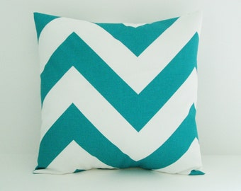 Chevron Pillow Cover Decorative Pillow Cover Turquoise Pillow Size Choice