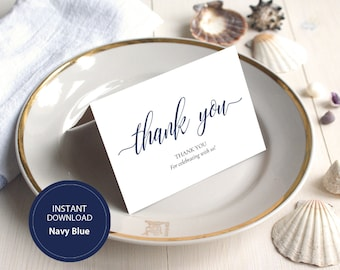 INSTANT DOWNLOAD PDF 3.5x5 tented style card Thank You card Wedding Calligraphy Thank You Note Cards Printable Digital Navy Blue #DP120_26