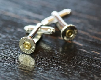 Mens Bullet Casing Cufflinks - 9mm Bullet Cufflinks - Perfect Country Wedding Accessory