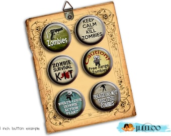 Digital printable ZOMBIES 2 papers for button machine walking dead quote scary magnet stickers pendant instant download printable - tn221