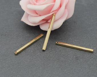 x 8 rectangle stick brass charms 30 mm BD60 gold