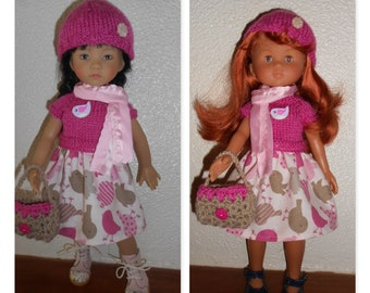 "Little darlings Dianna Effner Doll clothes or sweethearts of corolla, 33cm, 14 ""- 4pcs, dress, hat, bag, scarf"