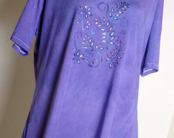 Blackberry tunic dress cotton dress india indian 4x 3x xxl 2x xxxl plus size Hand painted top hippie shirt boho yoga blouse hippy meditation