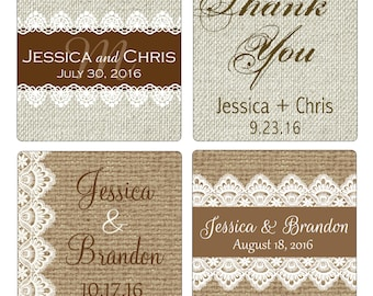 100 - 2 inch Burlap / Linen and lace Personalized Glossy Waterproof Wedding Stickers - change designs to any color, wording etc