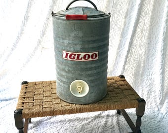 Vintage Igloo Metal Water Cooler | 3 Gallon Galvanized Water Dispenser | Industrial Metal Water Jug With Spigot | Tailgating Drink Dispenser