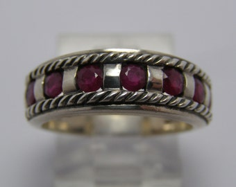 Vintage Sterling Silver Red Ruby Garnet Ring Sz 6.75