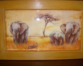 """Grand cadre motif """"éléphants"""