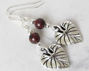 Red Jasper Leaf Earrings, Sterling Silver Beads, Mahogany Red Jasper, Sterling Silver Earwires - Nature Leaf, Metaphysical, Spiritual