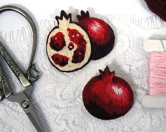 Pomegranate embroidered brooch pin