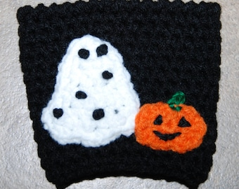 Ghost and Pumpkin Cup Cozy