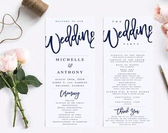 Foldable Wedding Program Template Modern Wedding Program