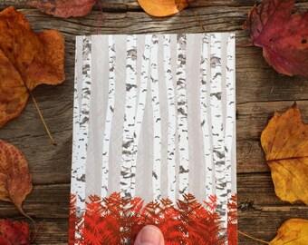blank notecards / birch forest