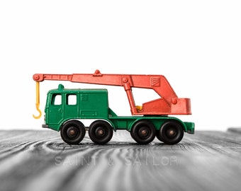 Vintage Green and Orange Crane on White and Grey Photo Print,  Wall Decor, Playroom decor,  Kids Room, Nursery Ideas, Gift Ideas,
