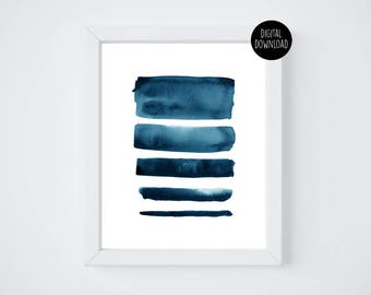 blue lines watercolor painting // 8x10 // printable digital download