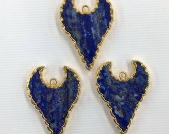 Lot of 3 pcs Lapis Lazuli Gold Edge Shape 34-35 x 14-15 mm