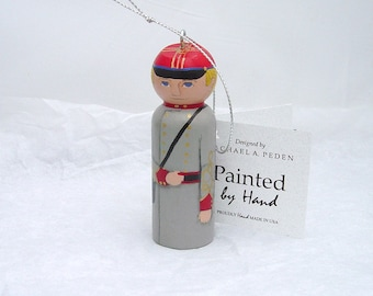Ornament Civil War, ARTILLERY Soldier,  hand painted on wood