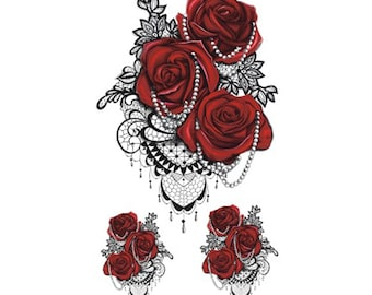 Vintage Lace + Roses Temporary Tattoo T092