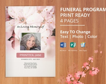 Funeral Program Template, Memorial Obituary Template | Editable With Microsoft Word, Publisher & Mac Page, Instant Download - EF42