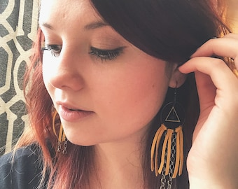 Leather Fringe Earrings- Leather and Chians- Leather Earrings- Long Earrings- Triangle Earrings- Boho Earrings