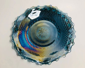 Blue Carnival Glass Bowl, Fantastic Condition Vintage Iridescent Blue Bowl, Indiana Glass Iridescent Blue Carnival Glass English Hobnail