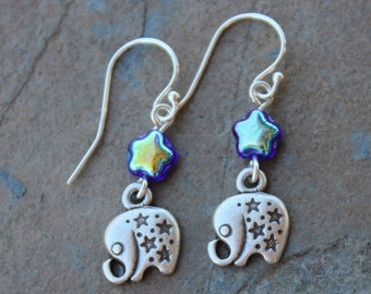Elephant and stars earrings - tiny adorable silver plated elephants, blue glass stars - sterling silver earring hooks- Free Shipping USA