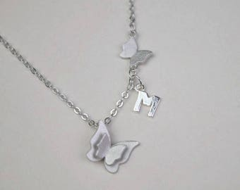 personalized initial butterfly necklace dainty delicate silver monogram necklace bridesmaid necklace