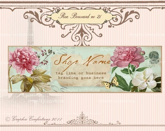 Facebook Timeline Banner French Garden, shabby chic style
