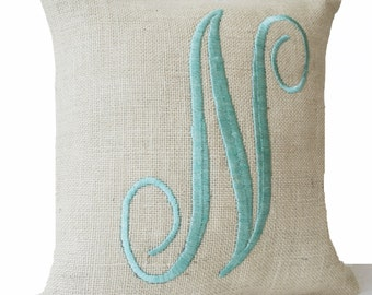 Farmhouse Pillow Monogram Pillow Cover, Letter Throw Pillow, Monogrammed Pillows, Ivory Burlap Mint Embroidered Pillow, Anniversary Gift
