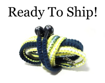 READY To SHIP FAST! Men's Earphones - Wrapped Tangle Free Headphones - Christmas Gift For Dad, Men, Guys, Teen, Boy | Navy Black Earbuds