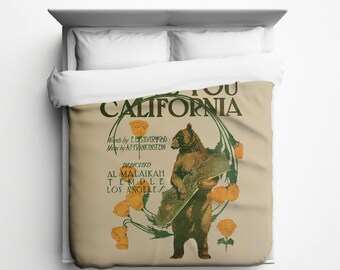 I Love You California, CA Bear Duvet Cover - Made in USA