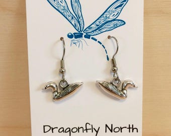 Loon earrings - silver loon earrings - common loon earrings
