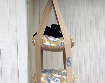 Outdoor Cat Bed, Cream Blue & Gold Giant Paisley 2 Level Kitty Cloud Cat Bed, Hanging Cat Bed,  Cat Tree, Indoor Outdoor Cat Bed