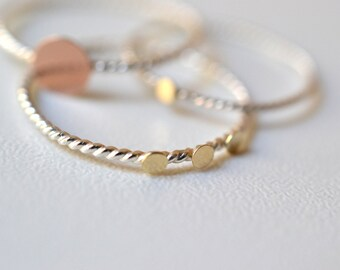 Three dots - 14k solid gold discs on silver band, stacking ring