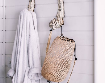 Borneo Fisherman Backpack- Hanging baskets- Modern Farmhouse Decor- Rustic Baskets- Bathroom Wall Decor- Boho Decor- Rustic Home Decor