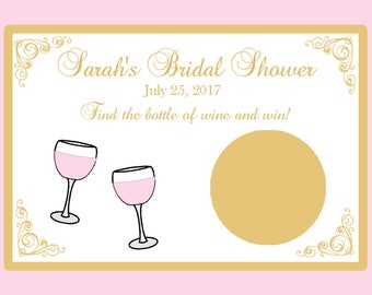 80 Personalized Bridal Shower Scratch Off Game Cards - Wine Themed Bridal Shower - Blush Pink