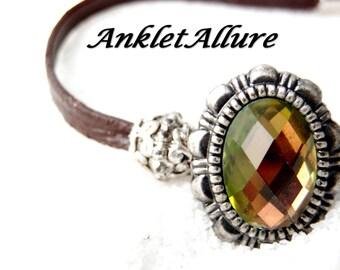 High-Low Anklet CHOKER Ankle Bracelet Elegant Anklet LEATHER Anklets for Women Green Crystal GUARANTEED