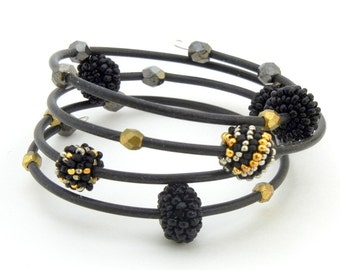 Comfortable One Size - Memory Wire Wrap Bracelet on Etsy - Black Silver and Gold Handmade Beaded Bead Jewelry