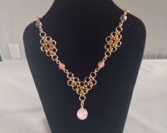 Pink Heart and Diamonds Necklace